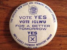 Vintage Pinback AFL CIO Union Pin IGLWU International Ladies Garment Workers Union Vote by aroundtheclock on Etsy