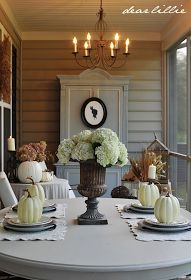 Dear Lillie: September Porch.  I love the calm neutral pallet of this table & space. #falldecor #thankgiving tablescape