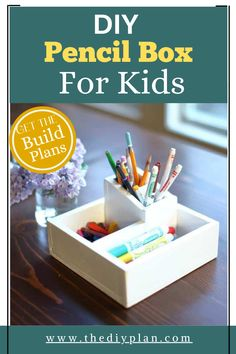 I decided to do something small and simple that my kids could help with. One of the things I knew would be useful to them is some kind of organizer for their pencils and crayons. So we decided to build a small DIY Pencil Box so that their crayons would not be all over the table and floor. #diy #project #kids #woodworking #woodproject #crafts #pencilboxforkids #freeplans Outdoor Projects, Diy Craft Projects, Garden Projects, Project Ideas, Diy And Crafts, Interior Blogs, Interior Trim, Interior Design, Pencil Box For Kids
