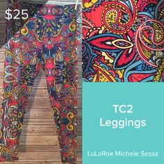 59a6b640753fa New LuLaRoe TC2 Leggings with a blue and pink paisley print. These plus  size leggings