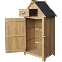 Cabane de jardin étroite, en bois de sapin, avec toit tar, 770x540x1420mm