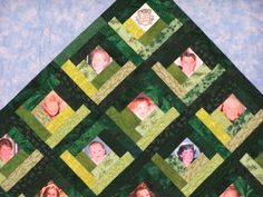 """Close up of Family Gathering Tree quilt.  The center of the """"leaves"""" are family photos. Photo Quilts, Memory Quilts, Tree Quilt, Photo Memories, Family Photos, Quilting, Leaves, Sewing, Projects"""