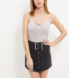 Grey Fine Knit Ribbed Tie Up Cami  | New Look