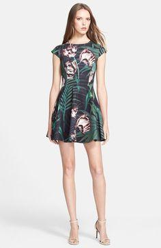 Ted Baker London 'Florell' Palm Floral Print Neoprene Skater Dress.