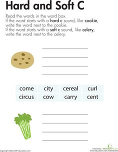 Worksheets: Hard and Soft C, This reminds me of one of my observations where a teacher used the words vase and cat for the soft and hard a sound.