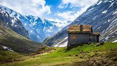 Les paysages Norvège, les montagnes et les maisons Fonds d'écran - 1600x900