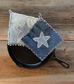 Las agarraderas del dril de algodón - Jean azul estrellas país caliente Pads - agarraderas mejor siempre