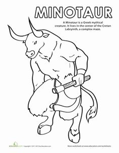 Minotaur Coloring Page | Worksheet | Education.com