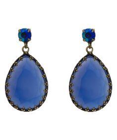 Merx Sale 65% OFF Sapphire Czech Crystal Teardrop Earrings