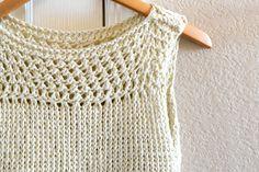 Easy Knit Summer Tops Pattern Mesh #free #diy #fashion #tutorial