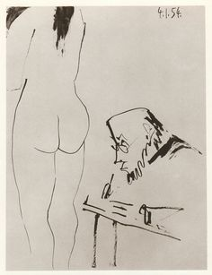 Pablo Picasso, artist and nude ink drawing Picasso Sketches, Picasso Drawing, Picasso Paintings, Drawing Sketches, Drawings, Pablo Picasso, Old Art, Henri Matisse, Life Drawing