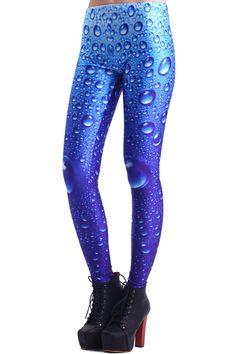 Water Drops Blue leggings #Romwe