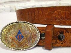 Vintage Monogram Initial Letter G Buckle Leather Belt Embossed