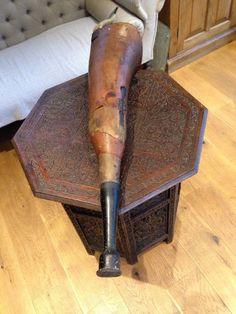 Antique Vintage Early Wooden Articulated Prosthetic Pirates Sailor Peg/false Leg