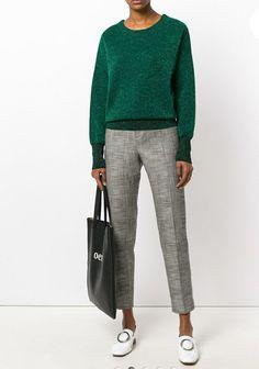 Grey cotton blend side stripe cropped trousers from ESSENTIEL ANTWERP.  Designer colour:GRIGIO