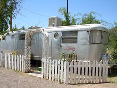 1951 Vintage Spartan Travel Trailer at the Shady Dell in Bisbee, AZ Vintage Campers Trailers, Camper Trailers, Rv Campers, Mobile Home Parks, Mobile Homes, Spartan Trailer, Tin Can Tourist, Vacations To Go, Vintage Rv