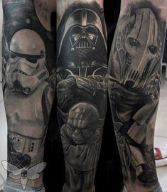 Star Wars half leg sleeve tattoo, finished and healed, Star Wars tattoo, tattoos, Yoda, Darth Vader, Stormtrooper, General Grievous