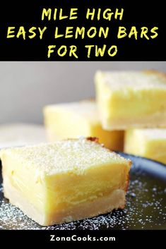These Mile High Easy Lemon Bars are deliciously sweet and tart with the perfect burst of lemon flavor and a rich, buttery crust in a big thick bar. This small batch recipe makes 4 generous slices, a perfect dessert for two. Mug Recipes, Lemon Recipes, Best Dessert Recipes, Baking Recipes, Sweet Recipes, Small Desserts, Köstliche Desserts, Delicious Desserts, Easy Lemon Desserts