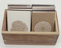 Love this simple wooden box for displaying my cards!