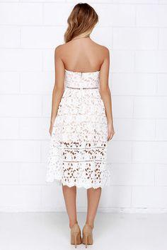 Pinnacle of Prestige Ivory Lace Midi Dress at Lulus.com!