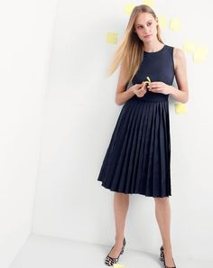 J.Crew women's pleated A-line dress and sophia pumps. Visit the wear-to-work shop in select stores and at jcrew.com.