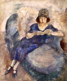 huariqueje: Girl in Blue Dress on Sofa, Reading - Jules Pascin 1922