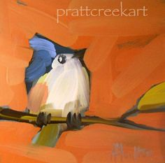 titmouse on branch no. 5 original painting by by prattcreekart