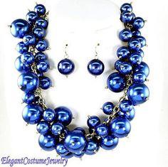 Blue costume  jewelry | ... -Cobalt-Blue-Pearl-Statement-Necklace-Set-Elegant-Costume-Jewelry
