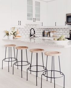 The perfect bar stools to compliment your kitchen look something like this!