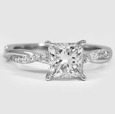 Platinum Petite Twisted Vine Diamond Ring set with a 1.25 Carat Princess Cut Diamond #BrilliantEarth