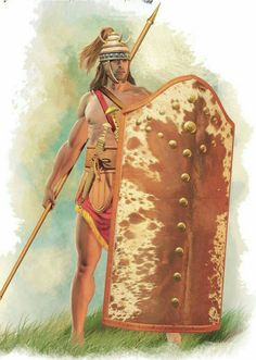 #mycenaean #warrior with a tower #shield that is covered externally by ox or boar skin,  tooth #helmet , #Spear and blade. 1600 BC