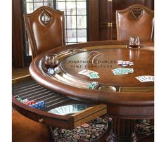 Mahogany Poker Table by Jonathan Charles Looking for a stylish yet slightly bigger poker table that can accommodate a couple of more players? Do you plan on entertaining friends and family to a poker Fine Furniture, Table Furniture, Luxury Furniture, Furniture Design, Gaming Furniture, Game Room Furniture, Furniture Ideas, Table Roulette, Round Poker Table