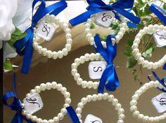 Wedding Bracelet,Bridesmaid Gift,Wedding Party,Royal Blue Wedding,Purple Wedding,White,Ivory  6 Piece Set with Free Flower Girl. $55.00, via Etsy.