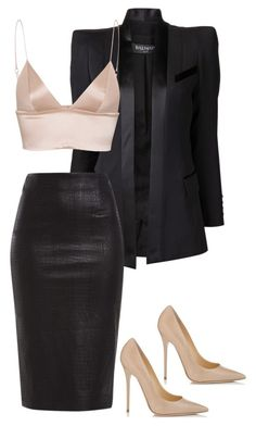 """untitled#53"" by hebashk ❤ liked on Polyvore featuring Balmain, Jimmy Choo and T By Alexander Wang"