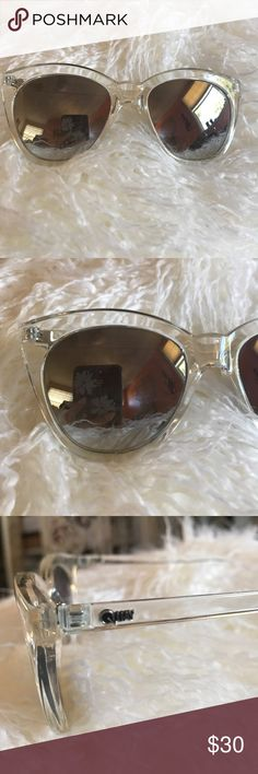 Quay Australia sunnies! Super cute and chic quay sunglasses with a clear frame and silver mirror lenses. In great condition Quay Australia Accessories Sunglasses