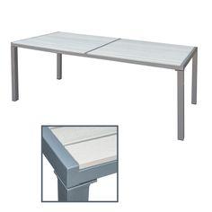 Details Zu Gartentisch Beige 190x90x72 Cm Alu WPC Terrassentisch Holzimitat  Esstisch Tisch