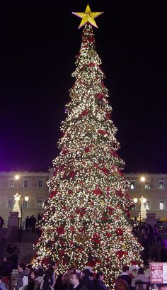 in central Athens at night with a huge illuminated Christmas Tree, 21 December 2005.
