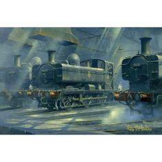 A Pride of Panniers by Philip D Uk Rail, Train Illustration, Steam Art, Steam Railway, Panniers, Train Art, Steam Locomotive, Print Artist, Fine Art Prints