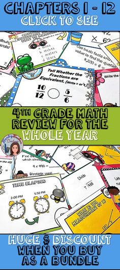 GO MATH inspired Chapters 1 -12 4th Grade Math Review activities for the Whole Year.