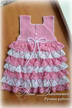 Crochet Dress Girl, Crochet Girls, Crochet For Kids, Crochet Clothes, Crochet Baby, Knit Crochet, Crochet Things, Crochet Dresses, Baby Dress
