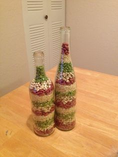 Wine bottle decor with beans