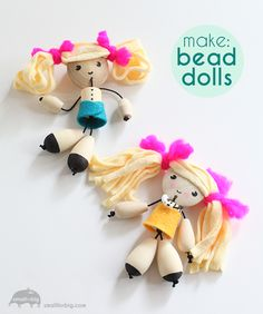 Awww, I love these!! Learn how to make this DIY Wood Bead Dolls craft.