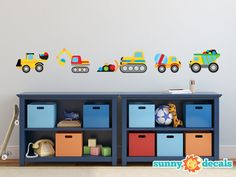 Construction Trucks Fabric Wall Decal with Dump Truck, Cement Mixer, Bulldozer, Excavator, and More - Boy Wall Decal - Nursery Wall Decal