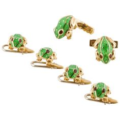 For Sale on - yellow gold cuff link and studs dress set by David Webb. The frogs are enameled green. The cuff links measure long and the four studs measure Mammals, Reptiles, Lizards, Amphibians, Snakes, Studded Dress, David Webb, Aqua Marine, Diamond Bracelets