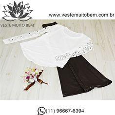 Camiseta Feminina detalhe na manga  Calça Flare Cirre #vestemuitobem #moda…