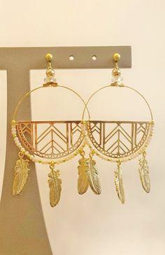 Collection bijoux fantaisie boucles d'oreilles plumes blanc cassé La Petite Fabric de Bijoux