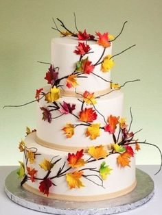 wedding cake leaves reception inspiration fall wedding cakes featuring autumn 23077