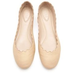 Chloe Scalloped Ballet Flat skin  Nude leather ballerina flats with a pearlescent finish. Chloé flats have a scalloped trim, a round toe and simply slip on.