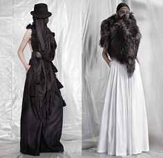 A.F. Vandevorst 2015-2016 Fall Autumn Winter Womens Lookbook Presentation - Mode à Paris Fashion Week Mode Féminin France - Apocalyptic Black Dark Lace Up Boots Chunky Knit Drapery Mask Wrap Dress Accordion Pleats Crow Hat Mask Boots Leather Headwear Rabbit Ears Fringes Hat Robe Scarf Shawl Cape Cloak Pants Trousers Furry Skirt Frock Bomber Jacket Rocker Leggings Flowers Florals Vest Waistcoat Frayed Raw Hem