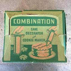 Antique Combination Cake Decorator and Cookie Maker in the Original Box Cake Decorating Set, Cookie Press, Antique Iron, Deviled Eggs, 1940s, Frosting, I Shop, Handmade Items, Lunch Box
